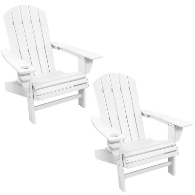 Sunnydaze Plastic All-Weather Heavy-Duty Outdoor Adirondack Patio Chair with Drink Holder, White, 2pk