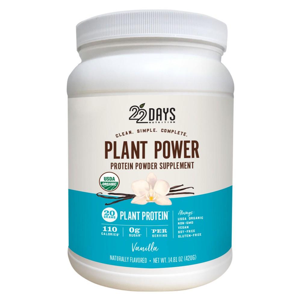 Image of 22 Days Nutrition Organic Vegan Protein Powder - Vanilla - 14.81oz