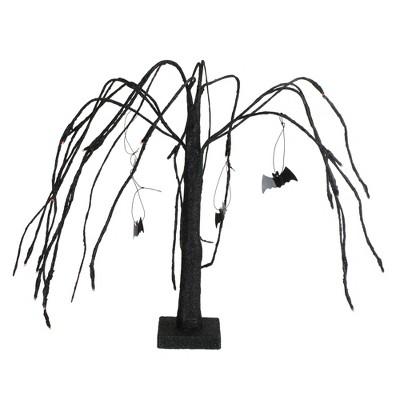 "Northlight 24"" Prelit Glitter Cascading Halloween Willow Tree with Bats - Orange/Black"