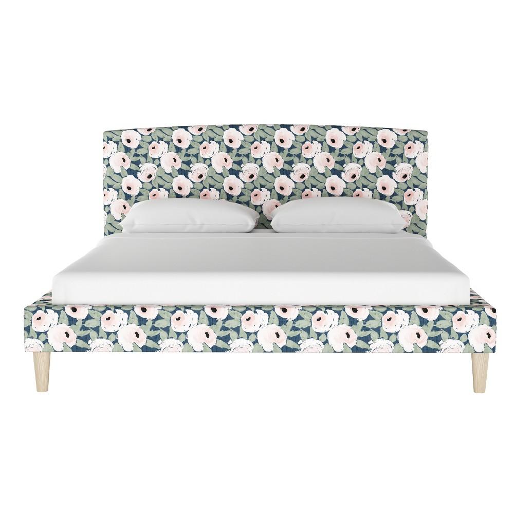 Curved Platform Bed Full Bloomsbury Rose Blush Navy - Threshold