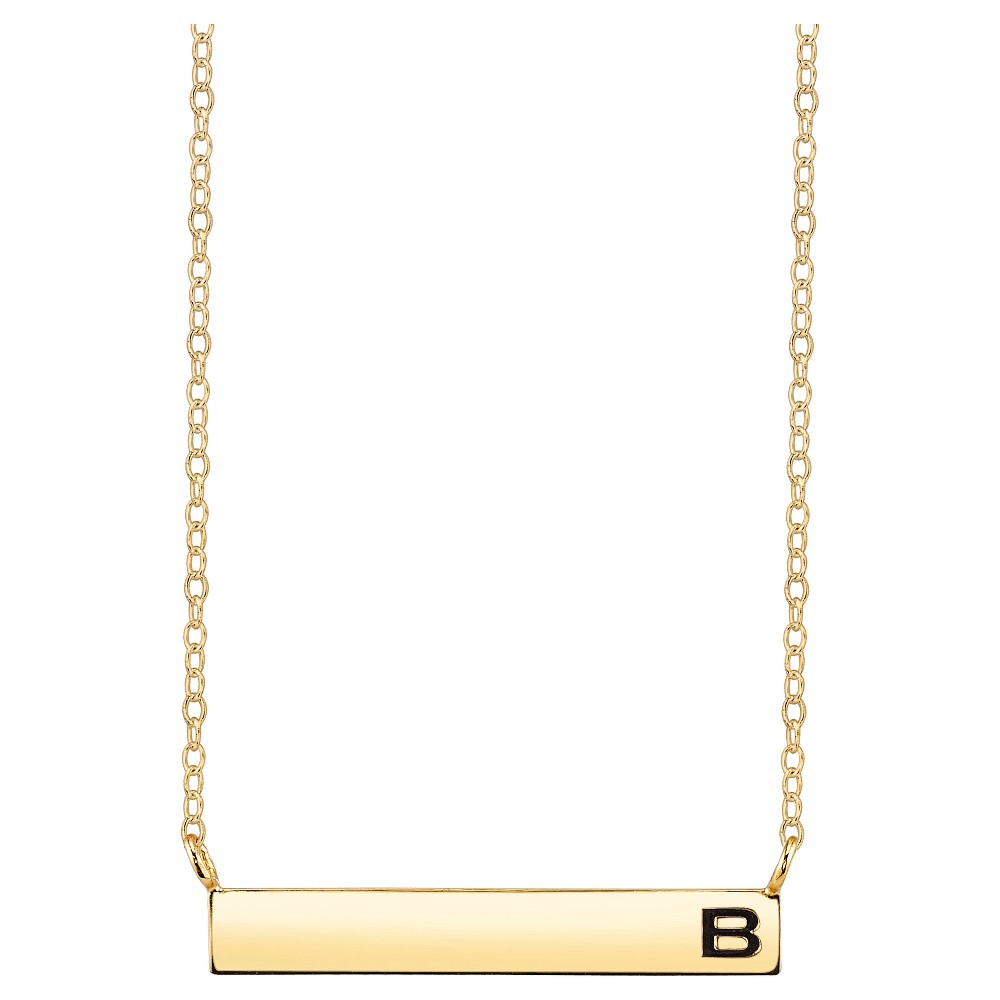 Women's Sterling Silver Station Bar Initial 'b' Necklace - Gold (18.15), Size: B