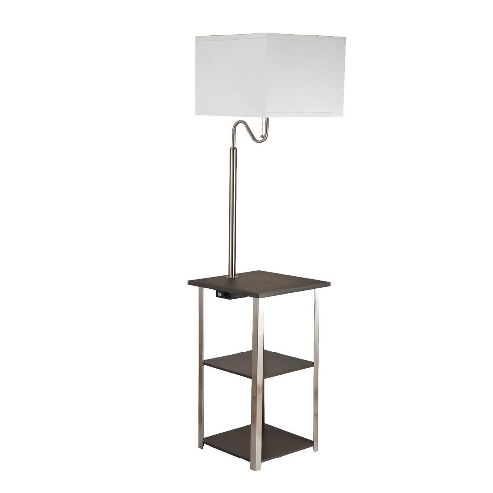 Dru Square Side Table Floor Lamp Brown (Lamp Only) - Ore International