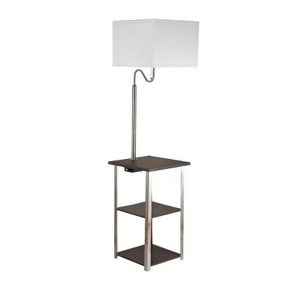 Dru Square Side Table Floor Lamp Brown (Lamp Only)   Ore International :  Target