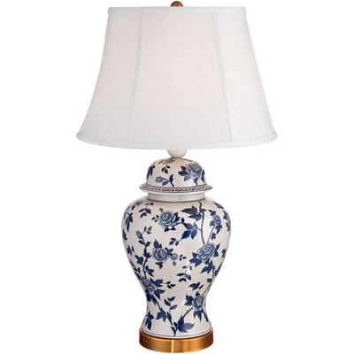 Barnes and Ivy Traditional Table Lamp Crackle Ceramic Blue and White Rose Vine Temple Jar White Bell Shade for Living Room Family