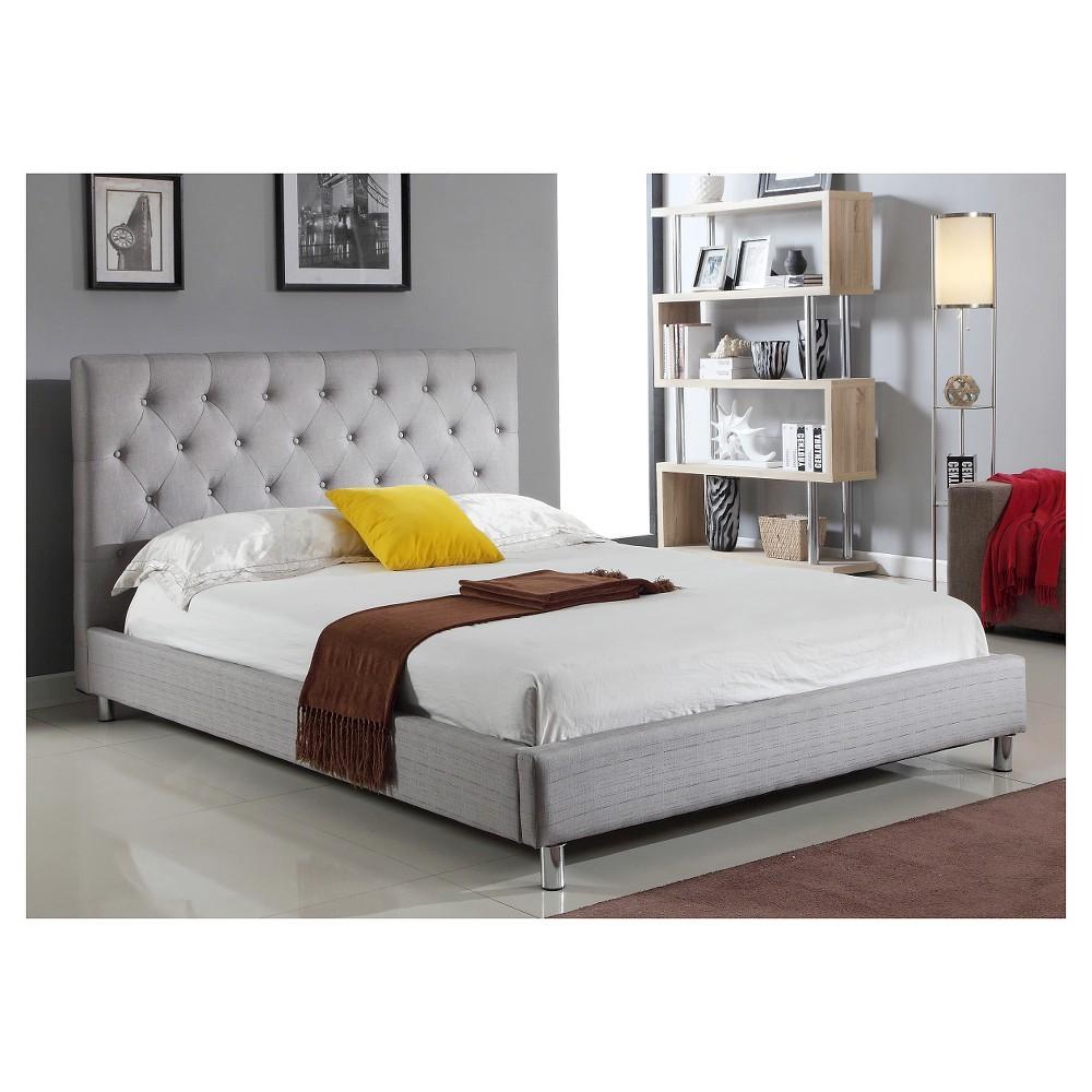 Lombard Tufted Linen Platform Bed (Queen) - Abbyson Living, Gray