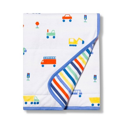 Jersey Knit Blanket Transportation - Cloud Island™ White/Blue