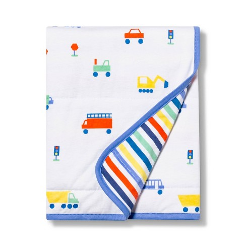 Jersey Knit Blanket Transportation - Cloud Island™ White/Blue - image 1 of 2