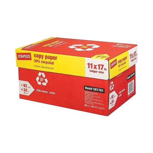 Staples 30 Recycled 11 X 17 Copy Paper 20 Lbs 92 Brightness 500 Rm 5 Rm Ct 581761 Target