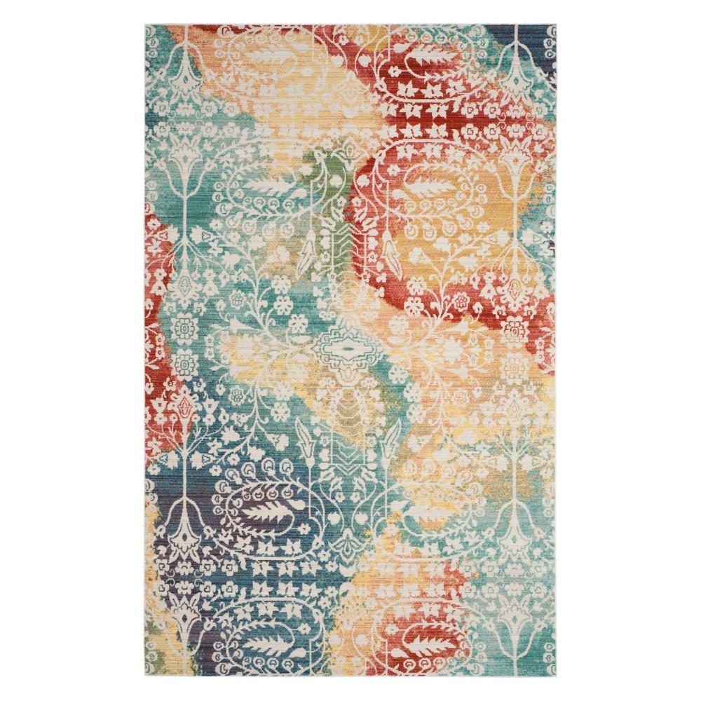 5'X8' Floral Loomed Area Rug Blue/Rust - Safavieh