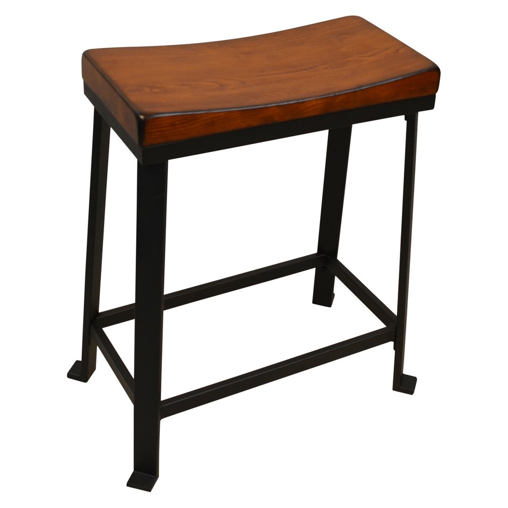 "Image of ""24"""" Viola Saddle Seat Counter Stool - Chestnut/Black - Carolina Chair and Table"""