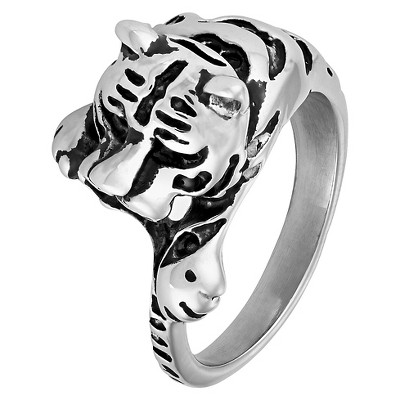 Men's Crucible Stainless Steel Antiqued Finish Tiger Ring (13mm) - Silver