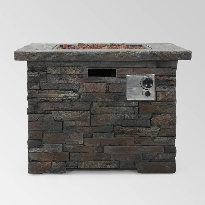 Blaeberry Outdoor Square Fire Pit Natural Stone - Christopher Knight Home