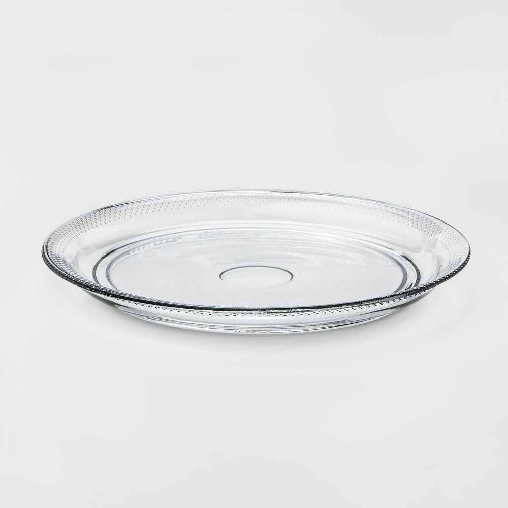 Traditional Glass Round Serving Platter - Threshold, Clear