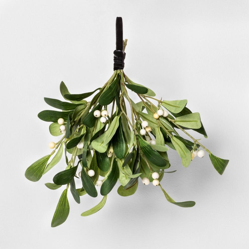 "Image of ""11"""" Faux Mistletoe with Black Velvet Ribbon - Hearth & Hand with Magnolia, White Green Black"""