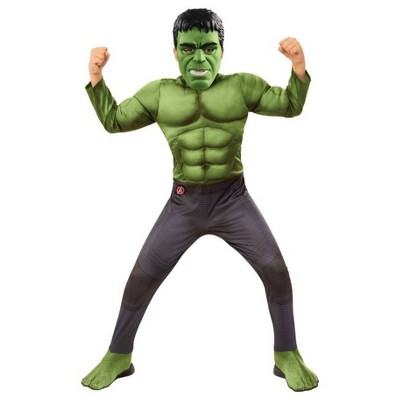 Kids' Deluxe Marvel Hulk Halloween Costume Muscle Jumpsuit with Mask