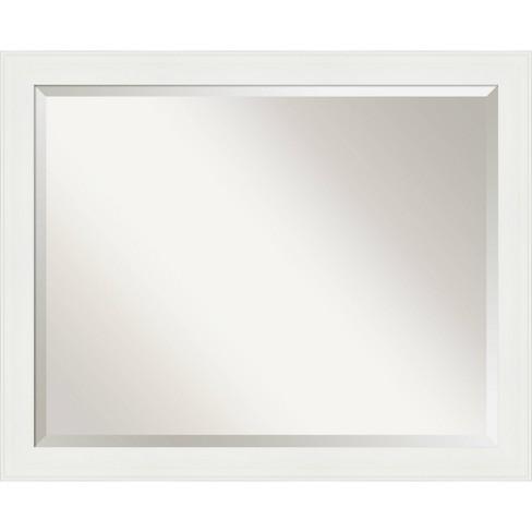 31 X 25 Vanity White Framed Bathroom, Brushed Nickel Framed Vanity Mirror