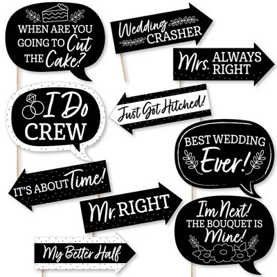 Big Dot of Happiness Funny Mr. and Mrs. - Black and White Wedding or Bridal Shower Photo Booth Props Kit - 10 Piece