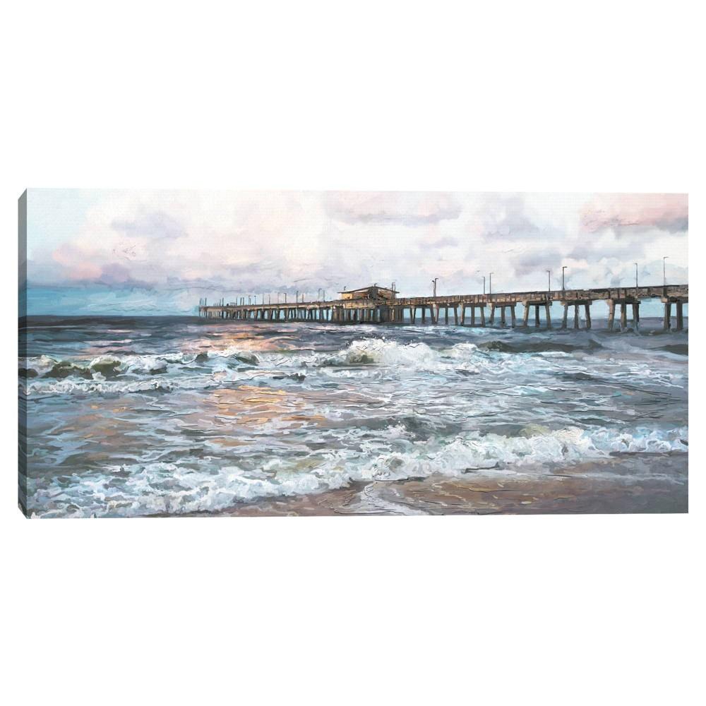 24 34 X 48 34 Twilight Pier Light By Studio Arts Canvas Art Print Masterpiece Art Gallery