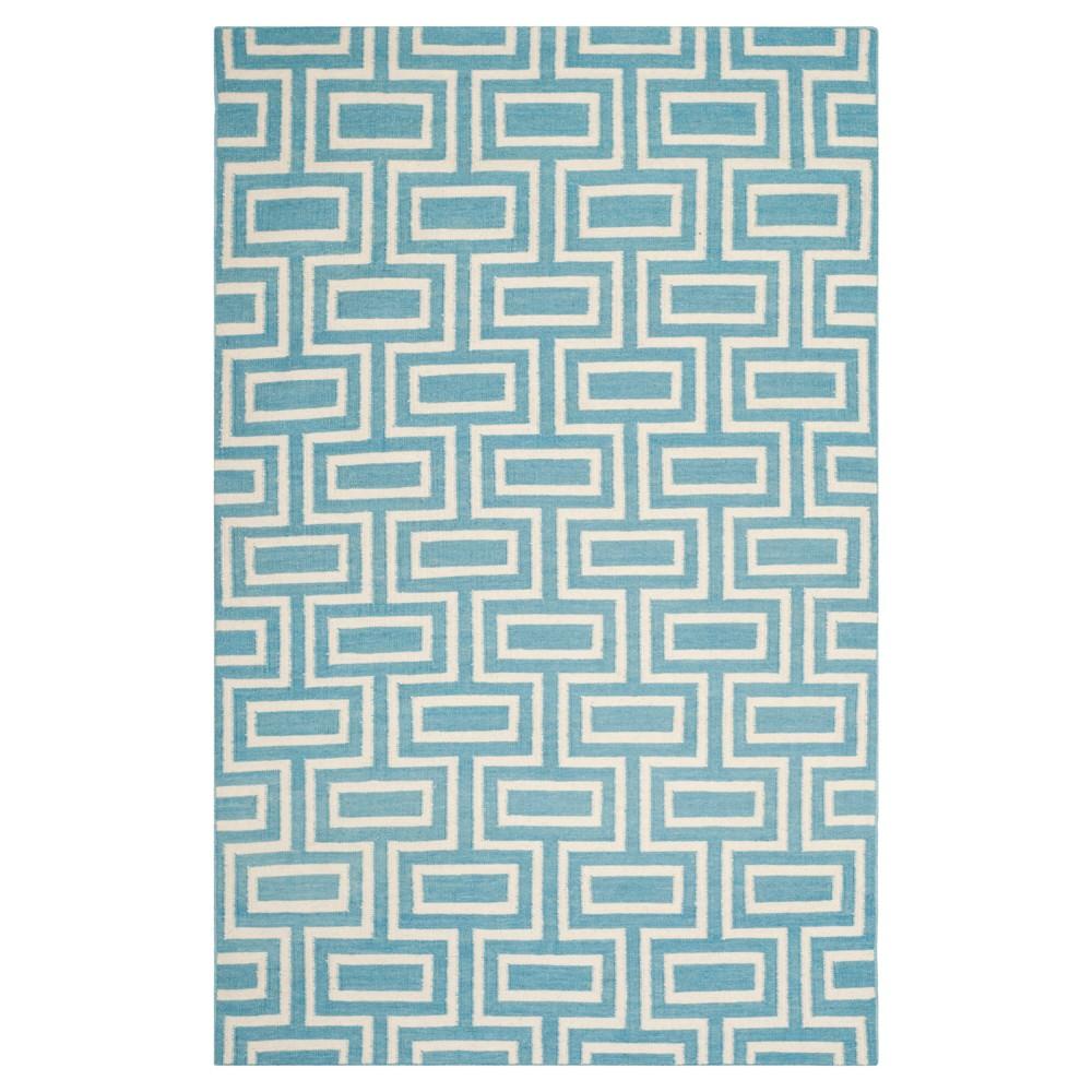 Montauk Flat Weave Wool Rug - Light Blue/Ivory (6' x 9') - Safavieh