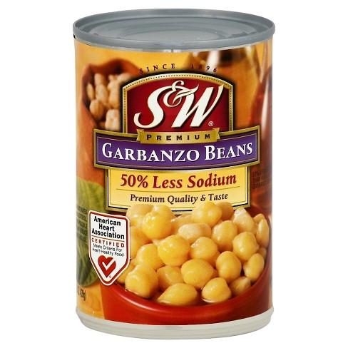 S&W Garbanzo Beans 50% Less Sodium 15.5 oz - image 1 of 1