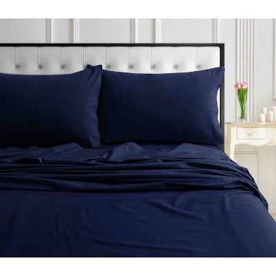 Queen Solid Extra Deep Pocket Ultra Soft Flannel Sheet Set Indigo - Tribeca Living
