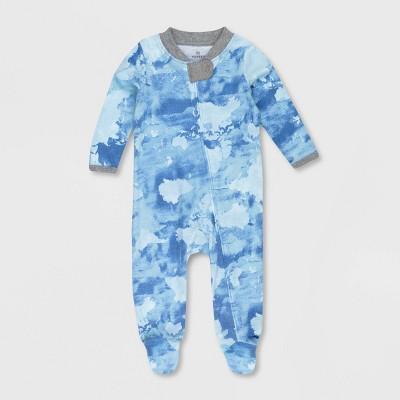 Honest Baby Boys' Organic Cotton Watercolor World Sleep N' Play - Blue Newborn