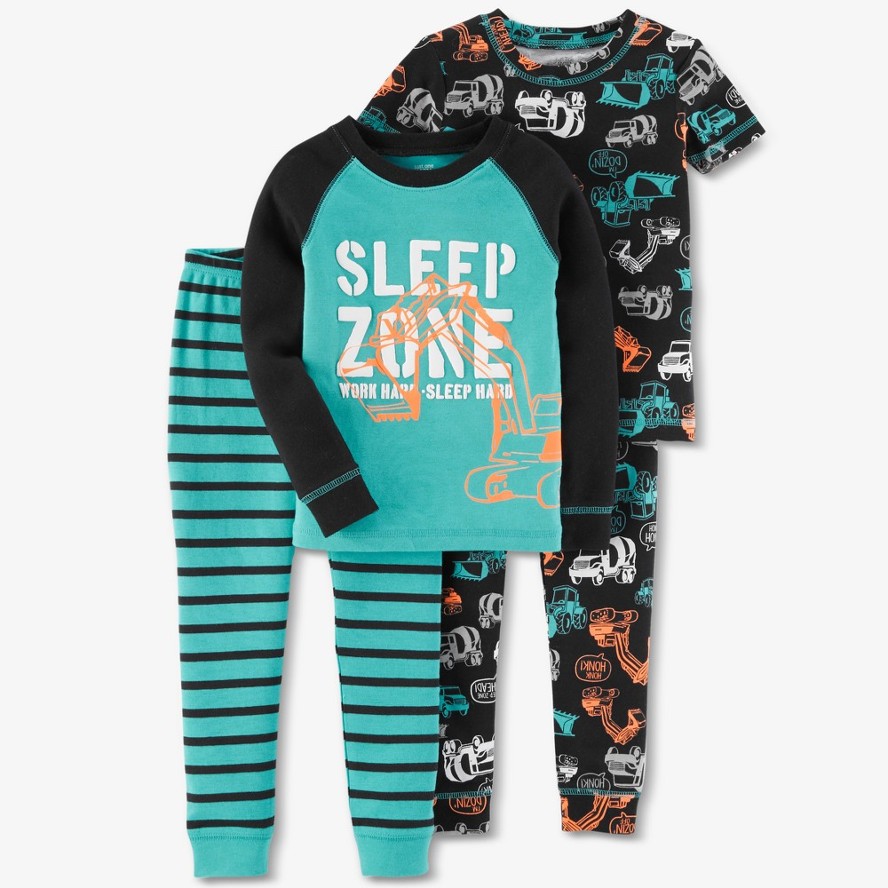 Toddler Boys' 4pc Construction Sleep Zone Pajama Set - Just One You made by carter's Aqua 4T, Blue