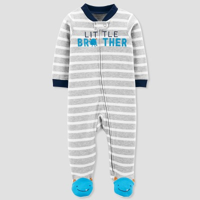 Baby Boys' Little Brother Cotton Sleep N' Play - Just One You® made by carter's Gray 6M