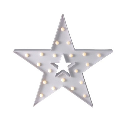 "Northlight 15"" Battery Operated LED Lighted Christmas Star Marquee Sign - Warm White"
