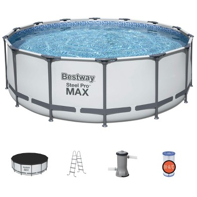 Outdoor Frame Above Ground Round Swimming Pool Set with Ladder, Cover, and Filter Pump