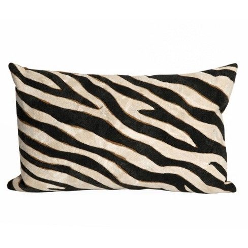 Visions Zebra Indoor/Outdoor Lumbar Throw Pillow Black - Liora Manne - image 1 of 2