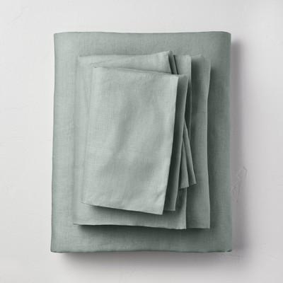 King 100% Washed Linen Solid Sheet Set Sage Green - Casaluna™