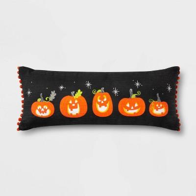 Pumpkin Lumbar Throw Pillow with Pom-Poms Black/Orange - Hyde & EEK! Boutique™