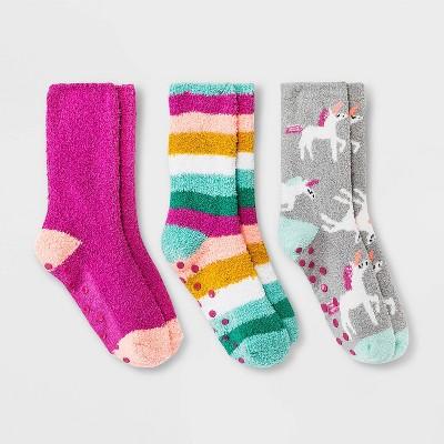 Girls' 3pk Cozy Unicorn Crew Socks - Cat & Jack™ Gray/Pink