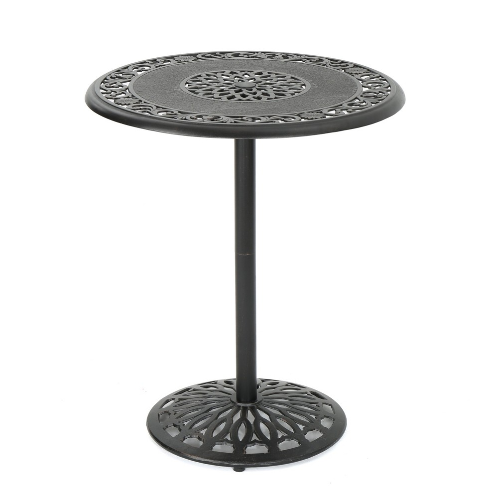 Hannah Round Cast Aluminum Bar Table - Shiny Copper - Christopher Knight Home