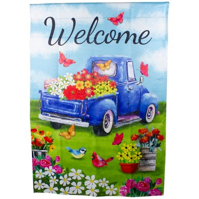 "Northlight Welcome Blue Pickup Truck with Flowers Outdoor House Flag 28"" x 40"""