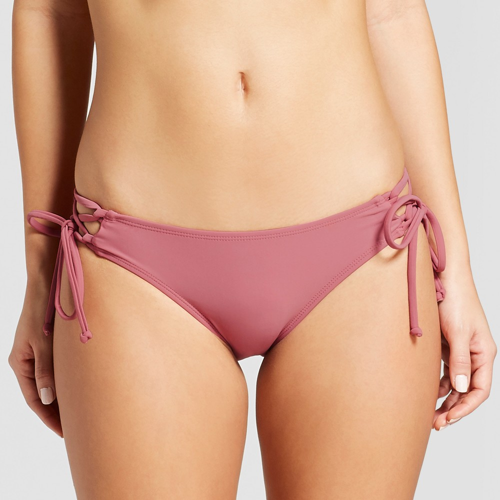 Women's Lace-Up Cheeky Bikini Bottom - Xhilaration Primrose L, Pink