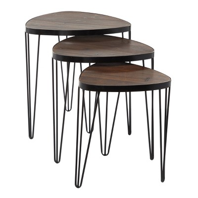 Set of 3 Industrial Metal Accent Tables Brown - Olivia & May