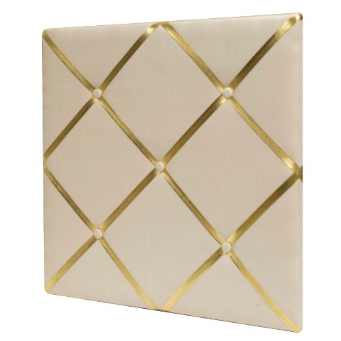 """White Linen Bulletin Board with Gold Straps 20""""x20"""" - Pillowfort™ - image 1 of 1"""