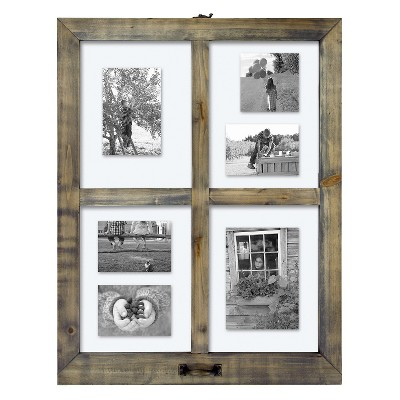 4 Opening Windowpane Collage Frame Weathered Wood