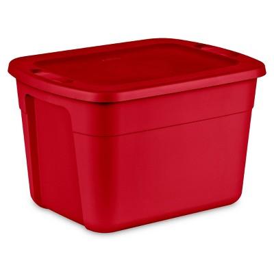 Sterilite 18gal Non-Latching Tote Red