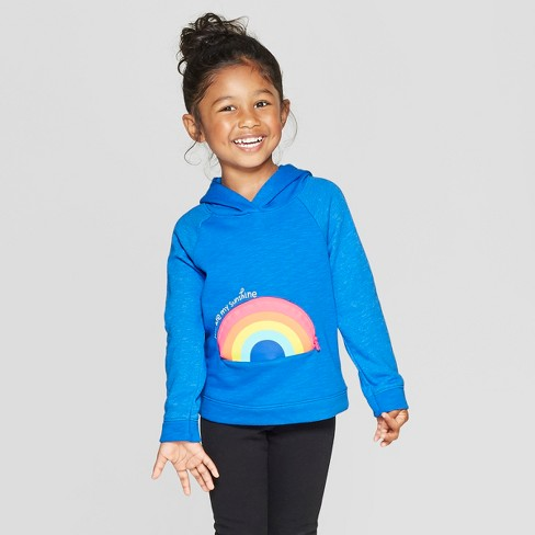 Toddler Girls' 'Rainbow' Pullover Sweater - Cat & Jack™ Blue - image 1 of 4