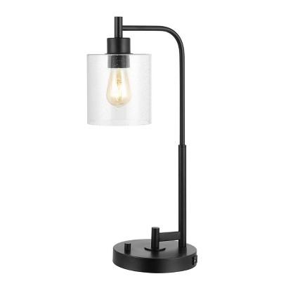 "23"" Iron/Seeded Glass Axel Farmhouse Industrial Task Lamp (Includes LED Light Bulb) Black - JONATHAN Y"