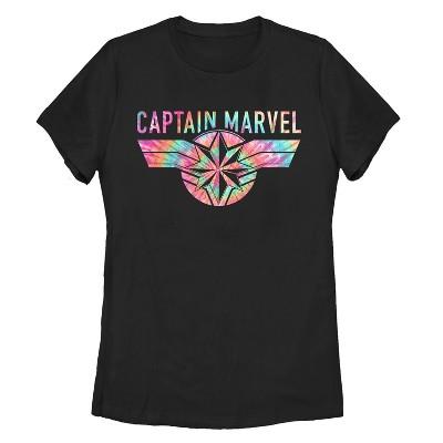 Women's Marvel Captain Marvel Tie-Dye Logo T-Shirt