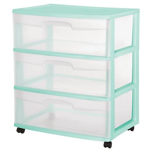 Sterilite® 3-Drawer Wide Cart - Aqua - image 1 of 1