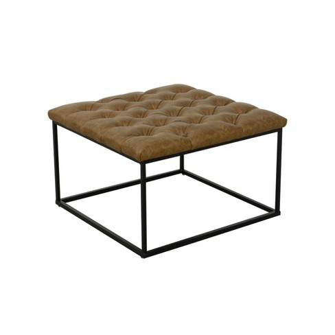 Fantastic Draper Ottoman With Button Tufting Faux Leather Light Brown Homepop Evergreenethics Interior Chair Design Evergreenethicsorg