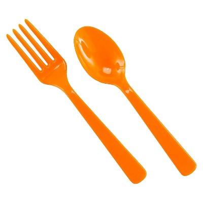 16ct Orange Disposable Fork & Spoon Set