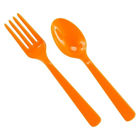 16ct Orange Disposable Fork & Spoon Set - image 1 of 1