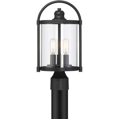 """John Timberland Modern Outdoor Post Light Fixture Black 15 3/4"""" Cylindrical Glass Exterior House Porch Patio Garden Yard Walkway"""