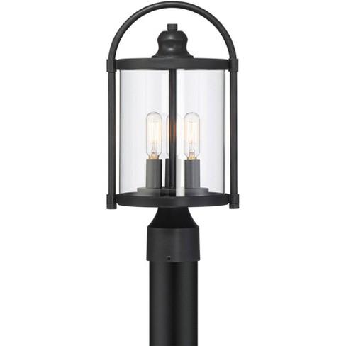 John Timberland Modern Outdoor Post Light Fixture Black 15 3 4 Cylindrical Glass Exterior House Porch Patio Garden Yard Walkway Target